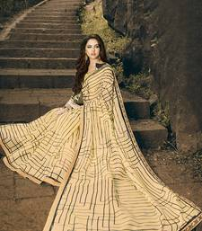 Buy beige printed cotton saree with blouse printed-saree online