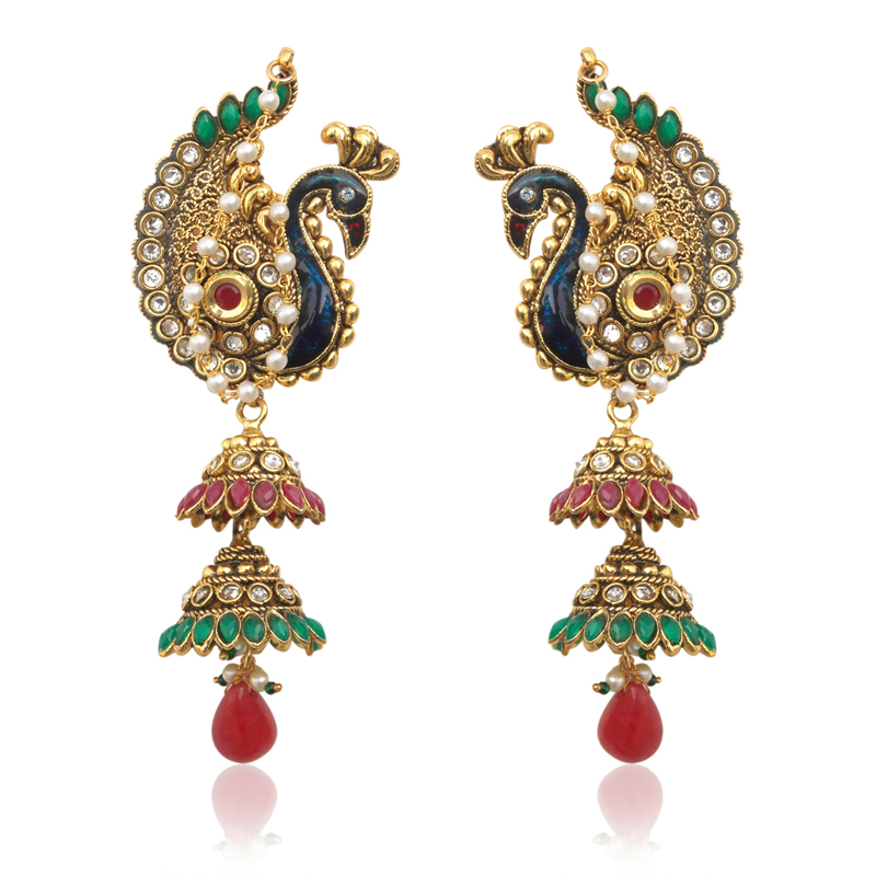 Buy Peacock motif maroon green Kashmiri jhumka earring India women jewelry v550 Online