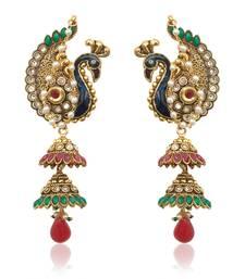 Buy Peacock motif maroon green Kashmiri jhumka earring India women jewelry v550 jhumka online