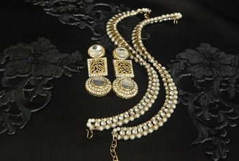 Gold Plated Handcrafted White colour Earrings & Pearl Anklets