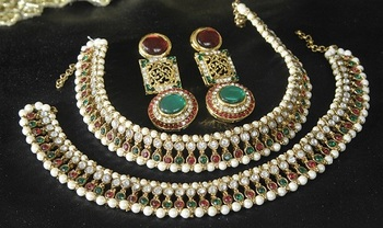Gold Plated Handcrafted Maroon, Green Earrings &  Anklets with Pearl
