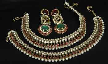 Gold Plated Handcrafted Maroon, Green Earrings & Maroon colour Anklets