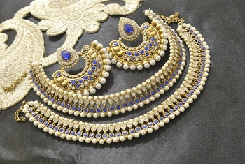 Bollywood  Earrings with Blue colour stones & Blue colour Anklets