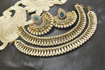 Bollywood  Earrings with Rama Green colour stones & Maroon, Green colour Anklets with Kundan