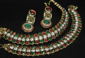 Gold Plated Handcrafted Maroon, Green Earrings & Jodha Akbar Anklets