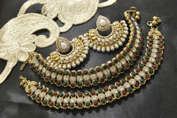 Bollywood Pearl  Earrings with Pearl  & Multicolour Jodha Akbar Anklets