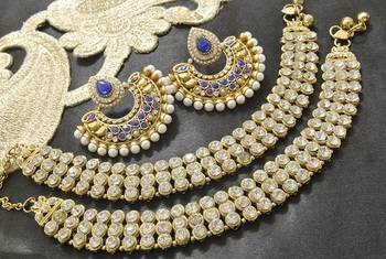 Bollywood  Earrings with Blue colour stones  & White Jodha Akbar Anklets
