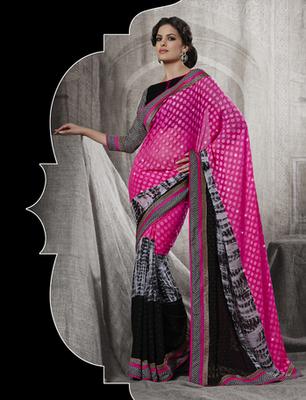 Awesome Pink Net Designer Saree