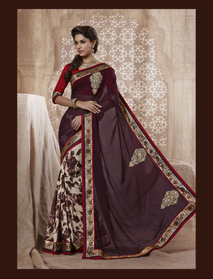 Brown Jacquard Designer Saree