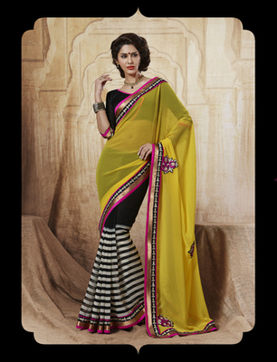Yellow Chiffon Half and Half Saree
