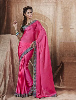Gorgeous Pink Chiffon Designer Saree