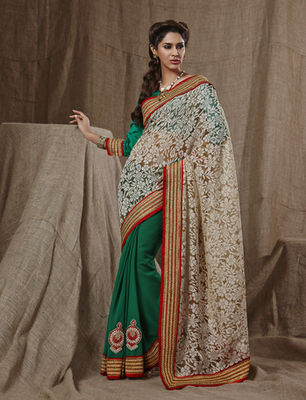 Net Jacquard Half and Half Saree