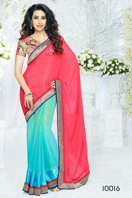 Peach&Cyan colored  Designer Silk Saree with blouse piece
