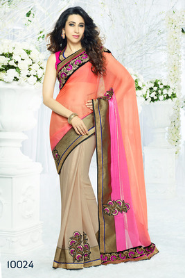 Multicolor  Designer bamber half coat Saree with blouse piece