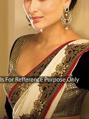 White Georgette with Embroidery Cut Border Kareena kapoor Saree