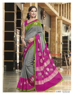Styloce Multi Color Bhagalpuri Silk Saree-STY-106-11403