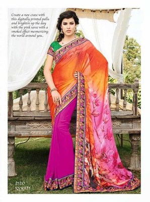 Styloce Orange,Pink Georgette Embroidery Saree-STY-2120