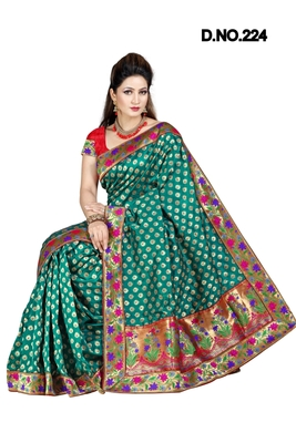 RAMA GREEN ART SILK PARTY WERE SAREE WITH BLOUSE