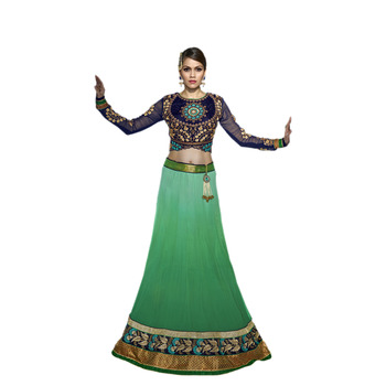 Khwaab Shaded Green Georgette Sheesha1003