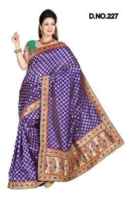 BLUE ART SILK PARTY WERE SAREE WITH BLOUSE