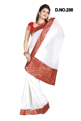 WHITE FAUX CHIFFON PARTY WERE SAREE WITH BLOUSE