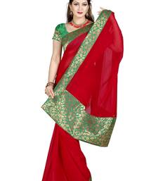 Buy RED FAUX CHIFFON PARTY WERE SAREE WITH BLOUSE chiffon-saree online