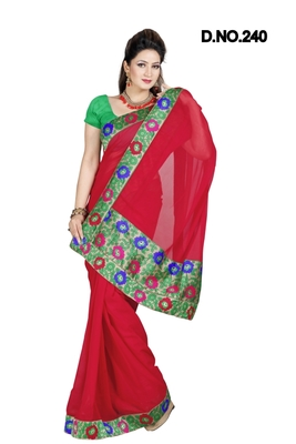 RED FAUX CHIFFON PARTY WERE SAREE WITH BLOUSE