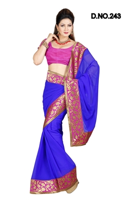 BLUE FAUX CHIFFON  PARTY WERE SAREE WITH BLOUSE