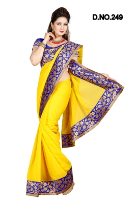 YELLOW FAUX CHIFFON PARTY WERE SAREE WITH BLOUSE