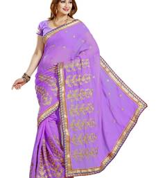 Buy VIOLET FAUX CHIFFON PARTY WERE SAREE WITH BLOUSE chiffon-saree online