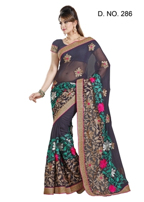 MARUIT FASHION GREY FAUX CHIFFON PARTY WERE SAREE WITH BLOUSE