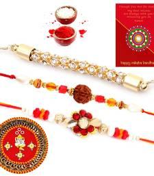 Buy Traditional Design Minakari Pooja Thali Rakhi Gift rakhi-pooja-thali online