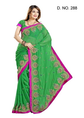GREEN FAUX CHIFFON PARTY WERE SAREE WITH BLOUSE