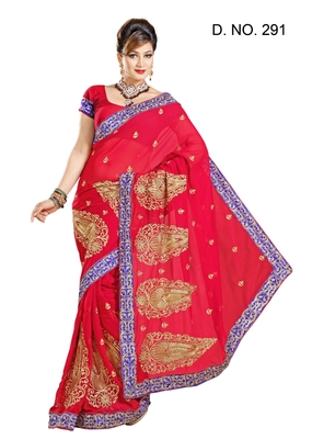 MAROON FAUX CHIFFON PARTY WERE SAREE WITH BLOUSE