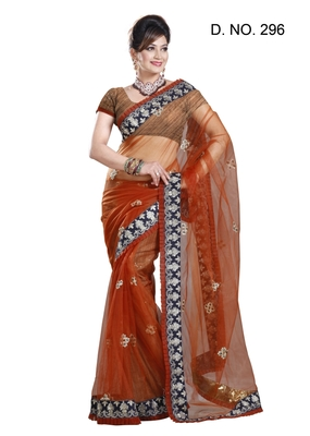 RUST NET PARTY WERE SAREE WITH BLOUSE
