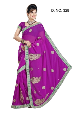 MAGENTA FAUX CHIFFON PARTY WERE SAREE WITH BLOUSE