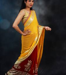 Buy Yellow & Red Georgette georgette-saree online
