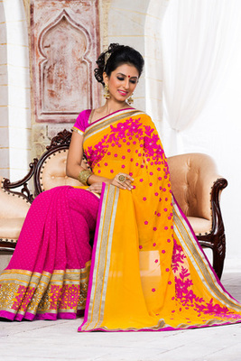 Pink and Yellow Embroidered Georgette Butti Saree with Ark Silk Blouse Piece