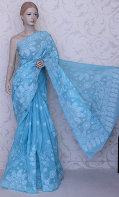 sky_blue embroidered cotton saree with blouse