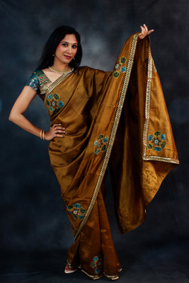 Brown Silk Kalamkari
