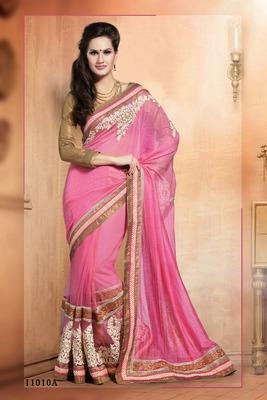 Indian pink border work pure silk cotton pallu net partywear rajasthani saree with blouse piece