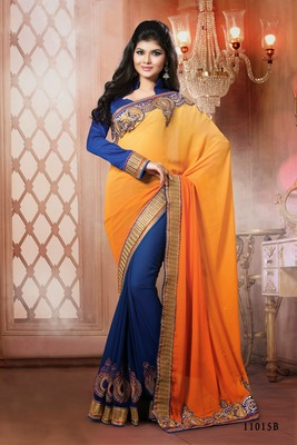 Indian saffron and blue border work wettless pallu semi georgette partywear rajasthani saree with blouse piece