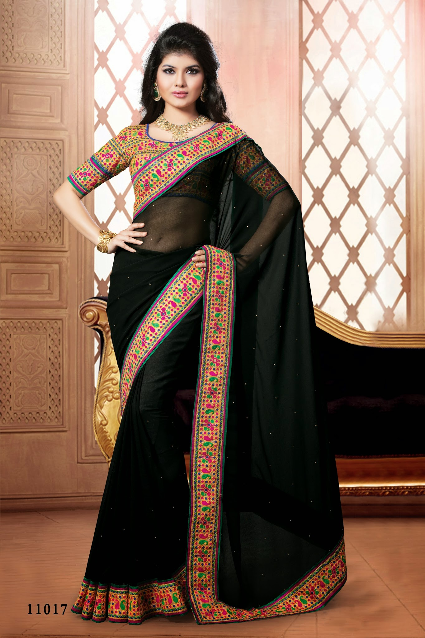 2536b476b Indian black border works semi georgette partywear rajasthani saree with  blouse piece - Saree Exotica - 278845