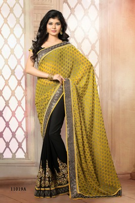 Indian yellow and black border work chiffon butti semi georgette partywear rajasthani saree with blouse piece