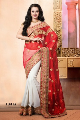 Indian red and cream border work fancy net pallu georgette partywear rajasthani saree with blouse piece