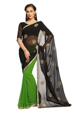 Black / Green Embroidered Faux georgette Saree With Blouse (1457)
