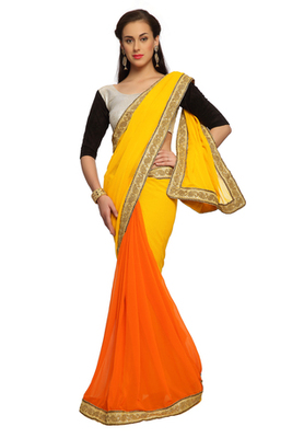 Orange and Yellow Embroidered Faux georgette Saree With Blouse (1462)