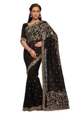 Black Embroidered Bhagalpuri silk Saree With Blouse (1465)