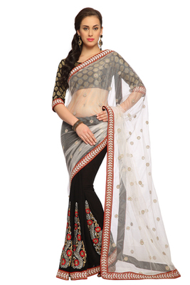 Black / Off white Embroidered Faux georgette Saree With Blouse (1470)