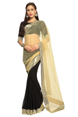 Black / Cream Embroidered Faux georgette Saree With Blouse (1482)